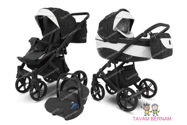 Camarelo Avenger plus 3-1 Av+4 (melna / balta) rati jaundzimušajiem trīs vienā